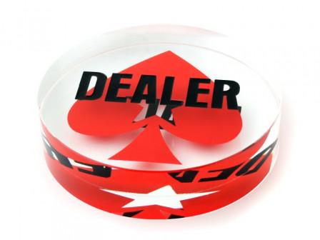 Kristall Dealer Button mit Pokerstars Logo