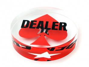 Kristall Dealer Button mit Pokerstars Logo